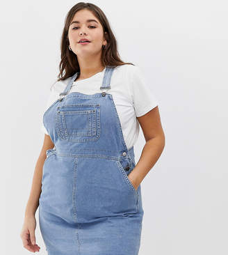 Asos Design Curve Denim Dungaree Dress In Vintage Blue