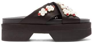 Simone Rocha Pearl And Crystal Embellished Platform Sandals - Womens - Black Multi