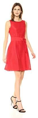Anne Klein Women's Solid Shadow Stripe FIT & Flare Dress