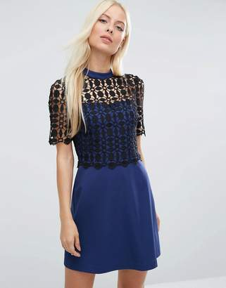 Asos DESIGN PREMIUM Structured A-Line mini dress With Lace Top