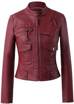 Moto LingLuoFang LLF Women's Faux Leather Simple Biker Jacket (Label 40) Wine Red (16b1611)