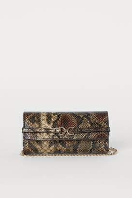 H&M Snakeskin-patterned Clutch Bag - Green