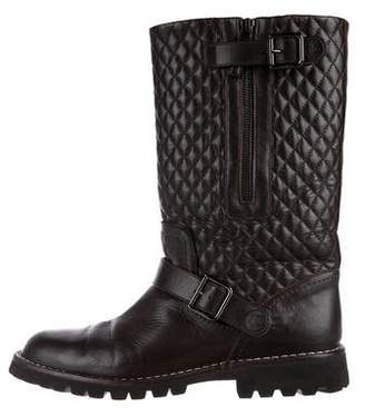 Chanel CC Quilted Moto Boots