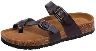 Shoeslocker Women's Open-Toe Faux-Leather Flat Cork Sandals Size US 6