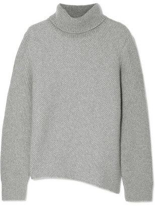 Cédric Charlier Ribbed Wool And Cashmere-blend Turtleneck Sweater - Gray