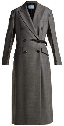 Prada Double Breasted Wool Coat - Womens - Grey