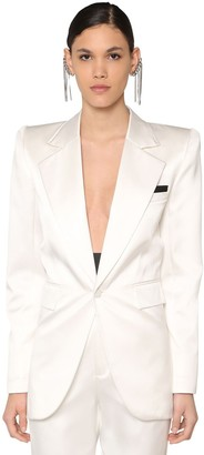 Saint Laurent DUCHESS SILK BLEND BLAZER W/SATIN CUFFS