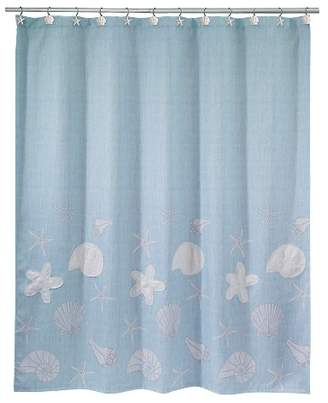 Avanti Sequin Shells Shower Curtain Ocean Blue