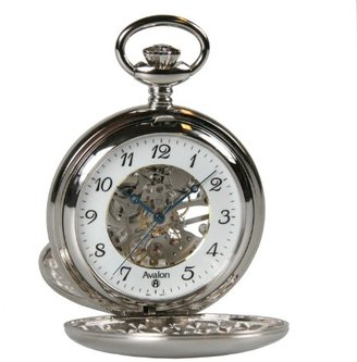 Avalon Polishedシルバートーンダブルカバー17-jewelメカニカルスケルトンポケット時計チェーン付き# 8310sx