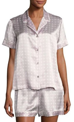 Natori Geometric-Print Short Silk Pajama Set, Purple Pattern $220 thestylecure.com