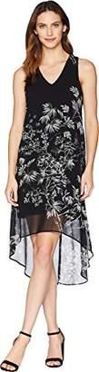 Karen Kane Women's Sketched Floral HI-LO Hem Dress