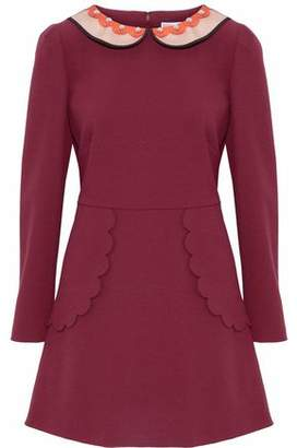 RED Valentino Studded Satin-Trimmed Crepe Mini Dress