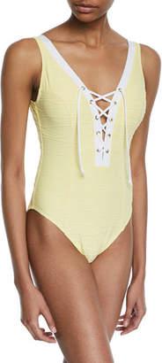 Letarte Lace-Up One-Piece Swimsuit