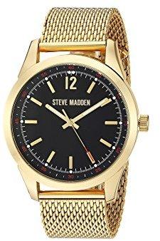 Steve Madden (スティーブ マデン) - Steve Maddenメンズダイヤルメッシュバンド腕時計 One Size ブラック/ゴールド