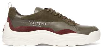 Valentino Gumboy Chunky Leather And Suede Trainers - Mens - Khaki