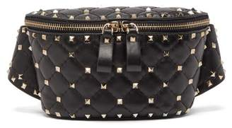 Valentino Rockstud Spike Quilted Leather Belt Bag - Womens - Black