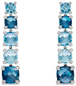 David Yurman Graduated Blue Topaz Drop Earrings with Diamonds