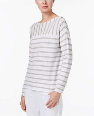 Eileen Fisher Linen Blend Striped Boat-Neck Sweater, Regular & Petite