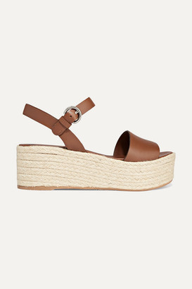 Prada Leather Espadrille Platform Sandals - Tan
