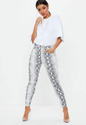 Missguided Gray Snake Print Skinny Jeans