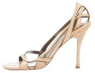 Alexander McQueen Ostrich Leg Slingback Sandals