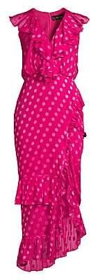 Saloni Women's Anita Dotted Ruffle Flounce Dress