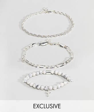 Asos Chained & Able Majesty Chain & White Marble Bracelet In 3 Pack Exclusive To