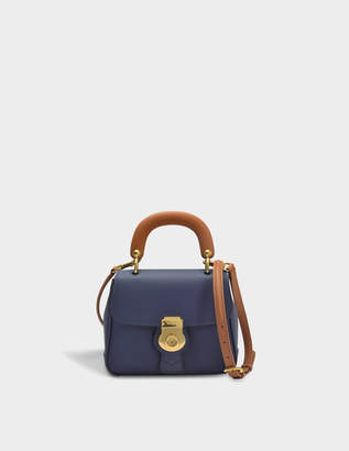 Burberry Small DK88 Top Handle Bag in Ink Blue Embossed Calfskin