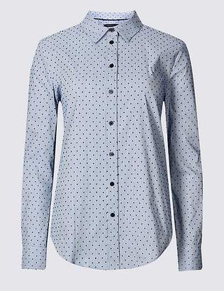 Marks and Spencer Cotton Rich Printed Long Sleeve Shirt