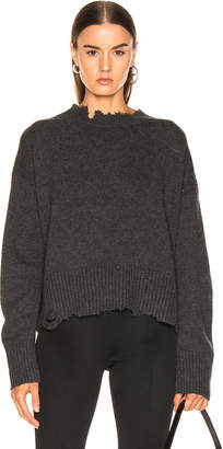 Helmut Lang Distressed Crew Sweater in Elephant | FWRD