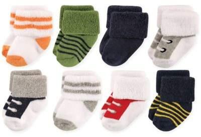 Size 6-12M 8-Pack Basic Cuff Socks in White/Green