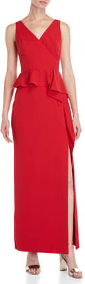Vince Camuto Draped Ruffle V-Neck Gown