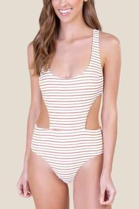 f455c1d9d0 francesca s Lydia Side Cut-Out One-Piece Swimsuit - Cinnamon