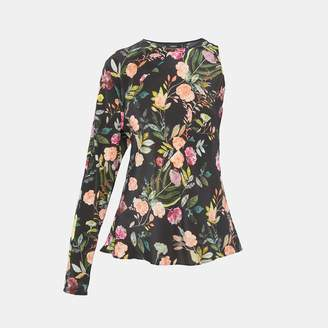 Theory Silk Combo Floral Flounce Top