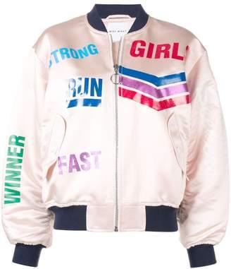 Mira Mikati Run Girl glitter vinyl bomber jacket