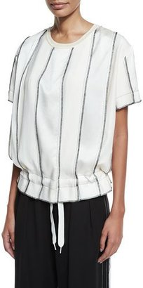DKNY Short-Sleeve Paneled Satin Drawstring Top, Gesso $398 thestylecure.com