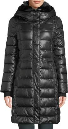 French Connection Long-Sleeve Faux-Fur Hooded Puffer Coat