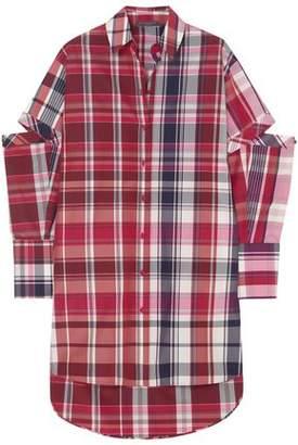 Alexander McQueen Convertible Checked Silk And Cotton-blend Shirt