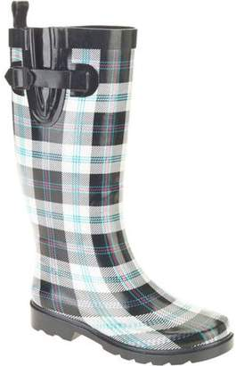 Generic Women's Summer Plaid Printed Tall Rubber Rain Boots