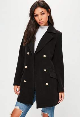 Black Short Faux Wool Military Coat $110 thestylecure.com