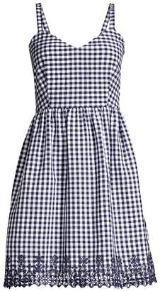 Draper James Embroidered Gingham A-Line Dress