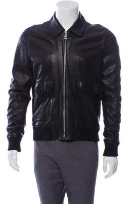 Burberry Beat Check-Lined Leather Jacket