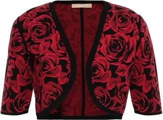 Michael Kors Floral-print Jacquard-knit Shrug