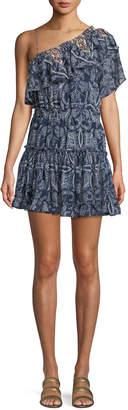 Neiman Marcus Misa Los Angeles Ezri Off-the-Shoulder Printed Mini Dress