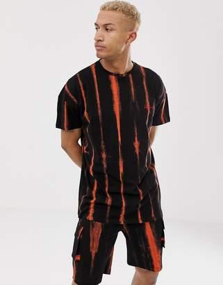 N. Liquor Poker stripe tie die t-shirt in orange