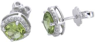 Panache Exports Sterling Silver 6mm Green Peridot Cushion Cut Halo Stud Earrings Jewelry for Women Girls