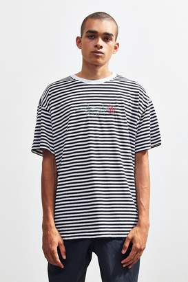 Urban Outfitters Stripe Embroidered Rose Tee