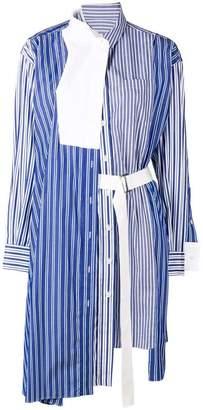 Sacai striped asymmetric shirt dress