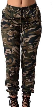 Yacun Women's Summer Camouflage Leisure Loose High Waist Jeans XL