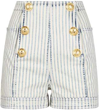 Balmain Striped Denim Shorts